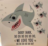 Handmade Personalised Birthday Card Daddy Mummy Shark Baby Shark 🦈Googly Eyes