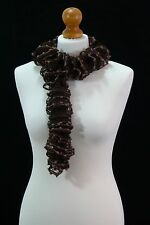 Brown Hand Knitted Ruffle Scarf In A Very Soft Cotton Acrylic Blend