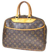 Authentic LOUIS VUITTON Deauville Hand Bag Monogram Leather Brown M47270 88MD256