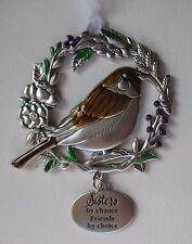 HD Sisters by chance friends by choice BLESSED BEYOND MEASURE Bird Ornament