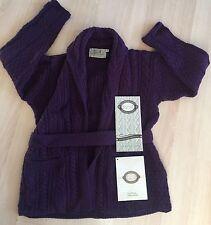 NWT ARAN SWEATER MARKET Purple 100% Merino Wool Cardigan-Sz M-bought in Ireland!