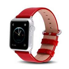 Leather Wristband Band Strap Bracelet For Apple Watch 42mm Series 1 Series 2 Red