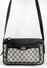 Gucci Vintage Navy Blue GG Logo Monogram Canvas Leather Medium Crossbody Bag