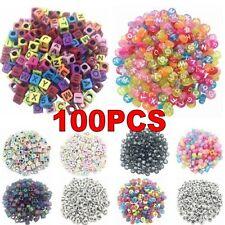 100PCS DIY Random Alphabet/Letter Acrylic Cube Spacer Loose Beads Jewelry Making