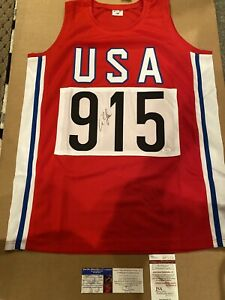 Carl Lewis Signed Team USA Olympic Track jersey