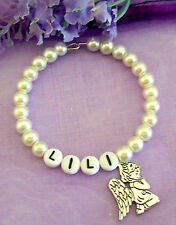 PERSONALISED GIRLS CONFIRMATION HOLY COMMUNION PRAYING ANGEL PEARL BRACELET