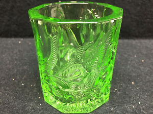 Green Vaseline glass floral Votive Fairy lamp / candle tea light holder uranium