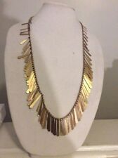 $79 Lucky Brand   Gold Tone Feathered  Style Statement Necklace #Y07a
