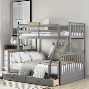 Twin-Over-Full Bunk Bed with Ladders and Two Storage Drawers(Gray)