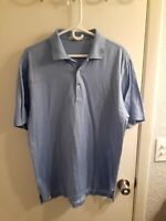 Peter Millar Mens Golf Polo T Shirt Blue w/ micro White dotes Medium CottonBlend