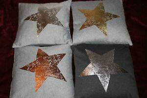 1 Stk.Dekokissen Sterne 45 x 45 cm Kissen mit Füllung und Glanzstern