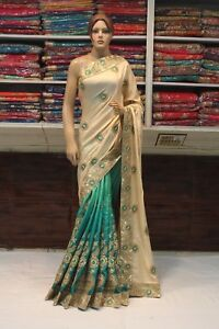 Indian Designer Satin Silk Saree Bollywood Two Color Sari Wedding Party Dress