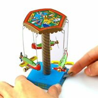 Wind Up Toy Fairground Carousel Airplanes Planes Mechanical Tin Toy Gift US