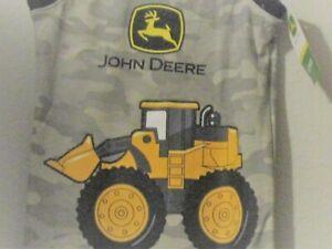 John Deere boys gray camo w/black trim  A-shirt w/skid loader w/dirt JD & emblem