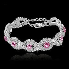 Pink Crystal Bracelet Women Girl Wedding Bangle Jewelry Charm Rhinestone