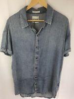 Stussy Short Sleeve Blue Denim Look Shirt Mens Size M