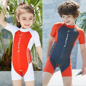 ONE PIECE KIDS GIRLS BOYS SHORT SLEEVE WETSUIT DIVING SURF SWIMWEAR UPF50+ 18842
