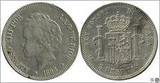 España 5 pesetas 1893 (*18*93) PGV Ag / Pequeño golpe MBC / VF Alfonso XIII 001