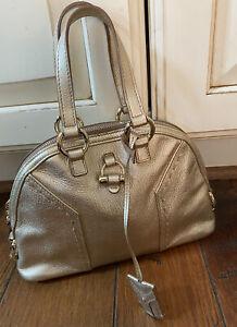 Authentic Yves Saint Laurent YSL Gold Metallic Stitch accents Handbag Purse  WOW