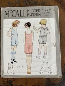 Antique 1920s McCall Girls' Clothing Sewing Pattern 5144 Sz 10 1pc Combination