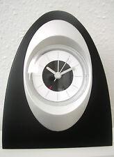 Uhr, Tischuhr, Wecker analog mit Alarm, halbovale Form schwarz - Neu & OVP