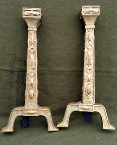 Antique Pair Set of Two 2 Brass Mission Era Fireplace Andirons Arts & Crafts