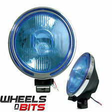 12V 9 Inch 4x4 spot lamp & Chrome Ring Blue Lens LED Ring Vauxhall Jeeps Van ETC