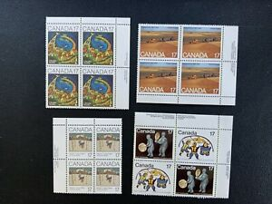Canada Block Plate Stamps # 837 838 Inuit Spirits 863 Wheat 871 898 Acadians