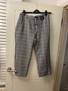BNWT M&S Size 14 Trousers Check Evie High Rise Stretch 7/8 Length New