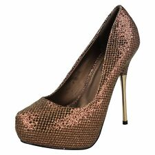 Spot On F9556 Ladies Platform Court Shoe Bronze (R36A) (Kett)