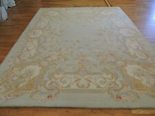 Breathtaking French Savonnerie Oriental Area Rug 8x10 Floral Beige Gold Blue