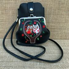 Black Owl Purse Small bag with Phone Spectacles  Holder Long & Short Straps
