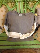 women's gray and white long sleeve shirt medium