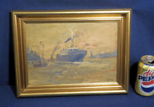 Carl Martin Raschen Oil Painting on Board Outward Bound NY Harbor Steamship 1938