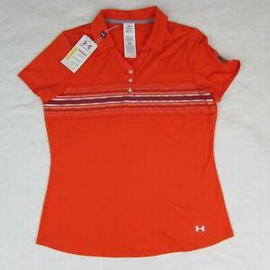 Under Armour Women's Golf Polo Shirt Orange Stripe Size Large UA