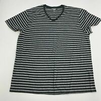 Old Navy T-Shirt Mens 2XL Heather Gray Charcoal Short Sleeve V Neck Striped Tee