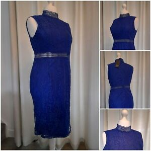 AX Paris New Look Blue Lace Dress Cocktail Party Size 16 Brand New With Tags