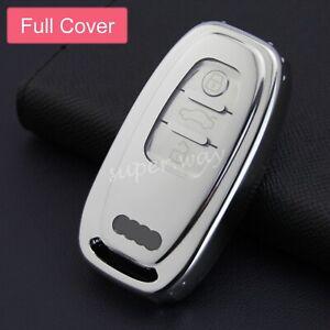 For Audi A4/A5/A6/A7/A8/Q5/SQ5/S4/S5/S6/S7/S8 Silver Smart Key Case Full Cover