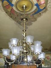 ANTIQUE 19TH-C COLONIAL REVIVAL GAS CHANDELIER, MITCHELL VANCE; PERIOD SHADES
