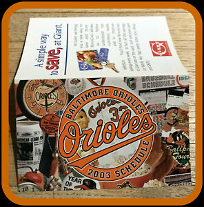 2003 BALTIMORE ORIOLES GIANT FOODS BASEBALL POCKET SCHEDULE FREE SHIPPING