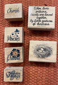 Ink Stamps Lot- Cherish, Memories, Precious, Favorite Things, Birds Nest & More