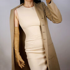 """LONG SUEDE GLOVE Faux Leather 24"""" 60cm Opera Evening Coffee Tan Nude Brown Beige"""