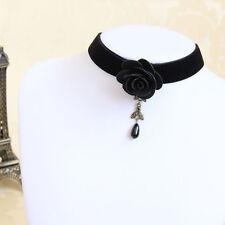 Handmade Black Rose Flower Pearl Gothic Choker Necklace Collar Lolita Retro Punk