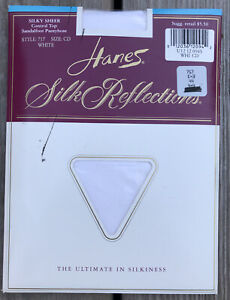 Vintage Hanes Silk Reflections White 717 Size CD Pantyhose NOS Made in USA