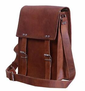 Men's Women Real Vintage Leather Messenger Business Laptop Briefcase Satchel Bag