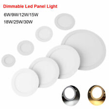 Dimmable LED Panel Light Recessed Ceiling Lamp Downlight Round 6/9/12/15/18/30W