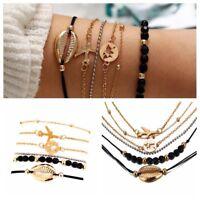 6Pcs/Set Women Boho Airplane Shell Bangle Bracelet Chain Party Charm Jewelry