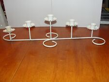 Vintage Large Ornate White Wire Metal 5 Candle Holder Candlestick Sconce - Euc
