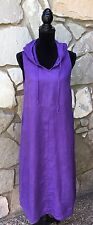 FLAX Linen Sleeveless Hooded Dress African Violet Purple Size P 4 6 Mid Calf