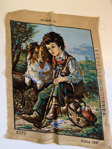 VINTAGE GOBELIN 1932 TAPESTRY CHILD WITH Lassie DOG READY TO FRAME 49cm x 62cm